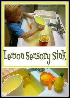 Lemon Sensory Sink. Sensory play, pretend play (making lemonade), a nice quiet time activity.