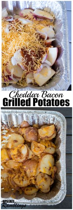 Cheddar Bacon Grilled Potatoes - an easy side dish recipe for the grill combining potatoes with cheese, Barbecue sauce and bacon. This side dish is sure to be a hit at your BBQ! Easy Cheddar Bacon BBQ Grilled Potatoes