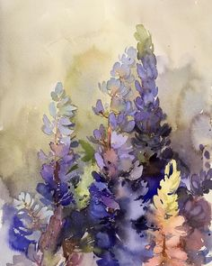Watercolor Plants, Watercolor Landscape Paintings, Watercolor Cards, Floral Watercolor, Botanical Drawings, Botanical Illustration, Plant Painting, Watercolor Techniques, Abstract Flowers