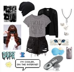 Polyvore, fashion, scene, punk rock, punk, emo, cute, kitty cat, clothing.