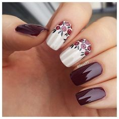The dominating saturated cranberry shade calls the spring tune in the long-nail design sample. A smooth base coat without a single deficiency emphasizes the severe image, but the same color floral décor on a white background adds a lot of femininity. This nail art is very easy to be made at home: the flowers are drawn with a fine paintbrush or just a simple toothpick using the base color nail enamel for flower buds and a more prominent hue for the leaves.