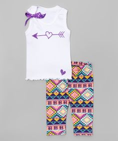 Another great find on #zulily! White Arrow Tank & Purple Capri Leggings - Toddler & Girls by Beary Basics #zulilyfinds