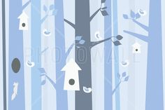 Birdforest - Blue - Fototapeter & Tapeter - Photowall