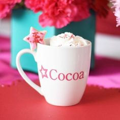 Celebrating National Hot Chocolate Day with a look back at the mugs we made for my daughter's birthday party last year.  A glimpse of the flowers makes this memory all that much sweeter:) #nationalhotchocolateday #cocoa #birthdayparty #americangirlinspired