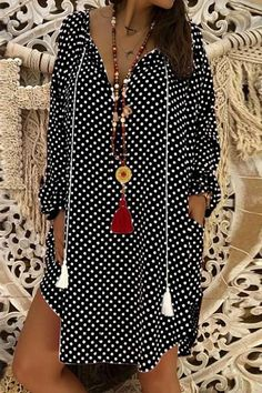 Material: Polyester Pattern Type: Polka Dots Sleeve Type: Long Sleeve Style: Casual Neckline: V neck Silhouette: Shift Decoration: Printed Theme: Winter Thickness: Lightweight Occasion: Daily Color: Red,White,Black,Orange Size: Polka Dot Summer Dresses, Casual Summer Dresses, Sexy Dresses, Dress Casual, Floryday Vestidos, Floral Shirt Dress, Floral Dresses, Dot Dress, Buy Shirts