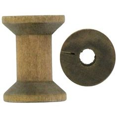 "Small Wooden Spools are great for an assortment of wood and paper crafting projects. The stained wood spools feature a smooth, soft finish.    	There are six wooden spools in a package.    	Dimensions:    	  		Length: 1""  	  		Width: 7/8"""