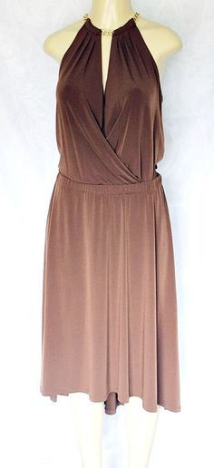 Michael Kors Dress Wrap Top Brown Gold Chain Neck M Medium Knee Length Stretchy #MichaelKors #AsymmetricalHemFitFlare #Any