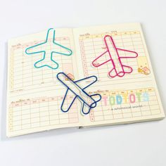 kawaii airplane bookmarks! These big aeroplane clips can be used as a bookmark so that you can easily locate the last page that you stopped reading. These adorable metal wired clips can also be a great way to decorate your book or scheduler. That's not all! They can also be used as paper clips for your paper documents and notes! #ad #kawaii #stationery