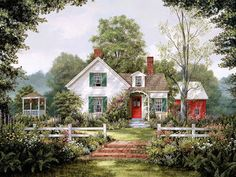 Beautiful Cottage ~~~art by Fred Swan~~~ Arte Country, Country Life, Belle Image Nature, Swan Painting, Thomas Kinkade, Cozy Cottage, Cozy House, Vermont, Art Pictures