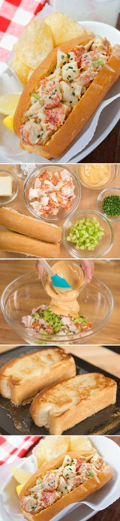 Roll Lobster Roll - Sweet, succulent lobster meat coated with spicy mayo is piled into a buttery toasted bun!Lobster Roll - Sweet, succulent lobster meat coated with spicy mayo is piled into a buttery toasted bun! Lobster Roll Recipes, Fish Recipes, Seafood Recipes, Great Recipes, Cooking Recipes, Favorite Recipes, Seafood Meals, I Love Food, Good Food