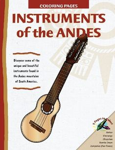 Instruments From The Andes - A series of coloring pages available from Teachers Pay Teachers featuring unique Andean instruments such as charango, zampoñas, bombo drums and chapchas. Drum Lessons, Guitar Lessons, Homemade Instruments, Global Awareness, Map Skills, Music For Kids, World Music, Teaching Kids, Piano Teaching