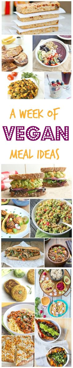 Week of Vegan Meals Menu planning? Check out this week of vegan meals for some delicious meatless breakfast, lunch and dinner ideas! Check out this week of vegan meals for some delicious meatless breakfast, lunch and dinner ideas! Vegan Foods, Vegan Dishes, Vegan Meals, Vegetarian Recipes, Healthy Recipes, Diabetic Meals, Healthy Meals, Healthy Food, Vegan Meal Plans