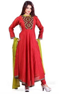 Fascinating Red Color Cotton Stylish Churidar Kameez