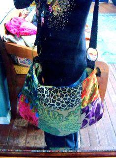 Vintage velvet gypsy bag , big  purse