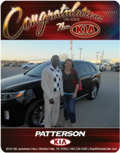 Congratulations to Kelly Hewitt on the purchase of her brand new 2015 Kia Sorento AWD! - From Mohammed Yero at Patterson Kia.