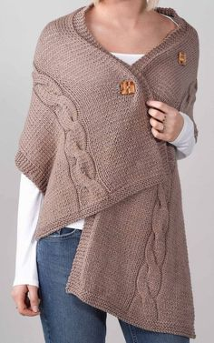 Free Knitting Pattern for Easy Cabled Button Wrap - Designed by Erika Flory, this shawl is a quick and easy introduction to cables. Three buttons make it adjustable. Rated easy by Ravelrers