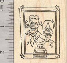 Halloween Zombie Rubber Stamp, Portrait of the Walkers (J28817) $11 at RubberHedgehog.com