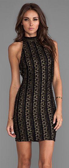 Claudia Halter Dress in Black/Gold