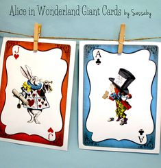 Alice in Wonderland Giant Cards - Girls Birthday Decoration - DIY PRINTABLE FILES by Sassaby