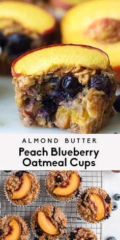 Delicious and easy almond butter peach blueberry oatmeal cups bursting with fresh summer fruit and hints of protein-packed creamy almond butter. These healthy peach oatmeal cups pack plenty of fiber and protein for a wonderful breakfast or afternoon snack. Dairy free, easily gluten free, naturally sweetened and freezer-friendly, too! #oatmealcups #peaches #peachrecipe #blueberries #berries #summerrecipe #breakfast #glutenfree #healthysnack #mealprep #dairyfree Healthy Dessert Recipes, Healthy Baking, Yummy Snacks, Healthy Snacks, Breakfast Recipes, Yummy Food, Snack Recipes, Peach Oatmeal, Oatmeal Cups