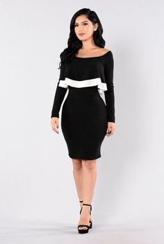 - Available in Black - Off Shoulder Dress - Fuzzy Material - Long Sleeve - White Trim - Ruffle Overlay - Knee Length - Made in USA - 96% Polyester 4% Spandex