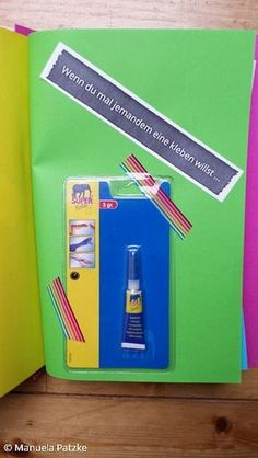 Funny Gifts If you ever want to glue someone to one … If book Diy Scrapbook, Scrapbooking Layouts, Homemade Gifts, Diy Gifts, Diy Letters, Diy Vanity, Cool Books, Diy Presents, Shopkins