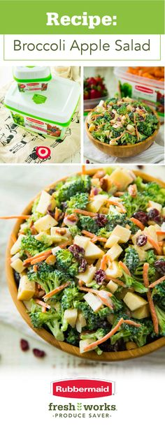 HEALTHY BROCCOLI SALAD:  6C broccoli (about 2 medium heads) . ½Cshredded carrots . ¼C red onion . 2large apples, finely chopped .  1/3Csliced dry roasted almonds, or sunflower seeds or nuts of choice . 1/3Cdried cranberries (optional) ~ DRESSING: 3/4 C Greek yogurt . 1/4C mayo or additional Greek yogurt . 2Tapple cider vinegar . 1/2-1Thoney or sweetener of choice, to taste . 1/4tsalt, to taste