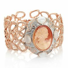 Amedeo NYC®30mm Cornelian Shell Swirl Frame Bracelet