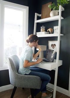Create a stylish, productive little nook, even when space is tight, with our chic, modern home office ideas for small spaces from Loves Julia. design ideas for small spaces Small Home Office Ideas Home Office Design, Home Office Decor, Home Decor, Office Ideas, Office Furniture, Furniture Ideas, Rattan Furniture, Folding Furniture, Office Designs