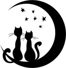 Get this cool wall decal of two cats sitting on a moon and looking to the sky. #catswalldecals #catstickers #vinylwalldecals #vinylwallstickers