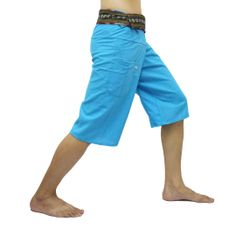 Light Blue Thai Fisherman Pants Short 3/4 with Thai hand woven fabric on waist side, Wide Leg pants, Wrap pants, Unisex pants  $22.00 Free shipping