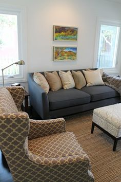 Moroccan Wing Chair and Expressionist Paintings with Transitional Furniture - eclectic - family room - los angeles - Madison Modern Home