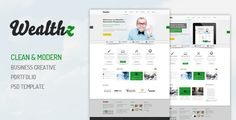Wealthz | Creative Corporate PSD Template . Wealthz is a creative portfolio 17 PSDs template, With 4 homepage options, and in 960 grid based. clean design with fully editable organized layered. It's multi-purpose