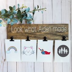 Child Artwork Display Hanger Sign / Kids Artwork Wall Hanger / Artwork Sign / Kids Craft Wood Decor / Kids Picture Hanger/ Kids room wall deco. Free shipping. This awesome Children's Artwork display will be a family favorite. Your child will not only feel special but important. The best part about this sign is it grows with your little one