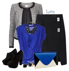 """""""Black and Blue"""" by berry1975 ❤ liked on Polyvore featuring VILA, Proenza Schouler, Laltramoda, BCBGMAXAZRIA, Kenneth Jay Lane and Coach"""