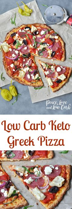 Low Carb Greek Pizza and Nut Free Pizza Crust | Peace Love and Low Carb via @PeaceLoveLoCarb