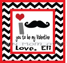 personalized valentine cards with mustache chevron  by tnmomof2, $4.00