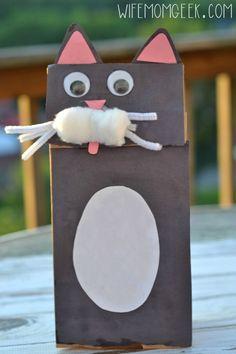 Black Cat Craft - Paper Bag Puppet - Great craft idea for Halloween!