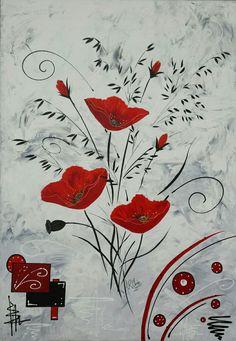 """Tableau """"Trois coquelicots rouge"""" Peinture acrylique sur toile châssis plat 120x80 peint à la main par Raffin Christine Page Facebook : L'étoile de Chris"""