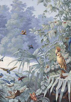 New Tropical Landscape Wallpaper 64 Ideas Hand Painted Wallpaper, Painting Wallpaper, Wall Wallpaper, Mural Art, Wall Murals, Wall Art, Art Tropical, Tropical Gardens, Chinoiserie Wallpaper