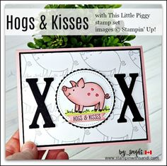 Hogs and Kisses Pig Card, this little piggy stampin up stamp set, stamp in, stampin with sandi, sandi maciver, card making blog, stampin up card ideas, canadian stampin up demonstrator, stampin up canada