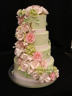 All buttercream cake with gumpaste flowers