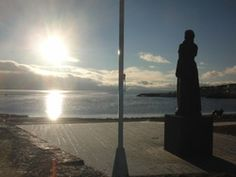 Winter sunshine at the canal park Sjøbadet in Moss, Norway, early afternoon on January In the park it`s a statue of The Norwegian Lady looking across the Atlantic in the direction of her sister, who stands in the same posture on Virginia Beac Moss Norway, Norway Travel Guide, Norse Vikings, Wind Turbine, Virginia, Sunshine, Park, Winter, Winter Time