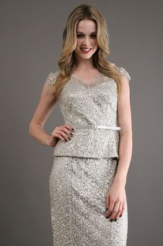 The Lace Sequin Top in Platinum by Kay Unger New York at CoutureCandy.com