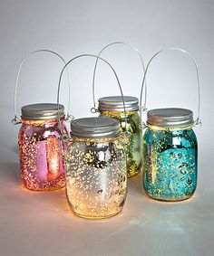 These lights are a must have.  I absolutely love these little lanterns they are so neat! Look what I found on 5.3'' Glass Spring Mason Jar Lantern Set