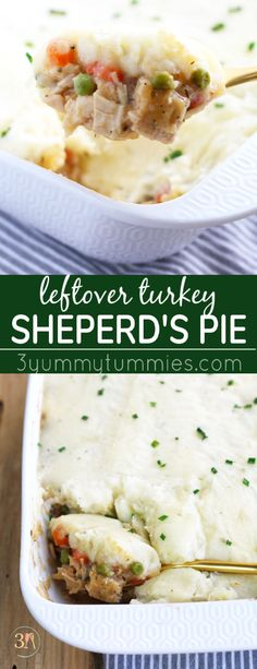 This Leftover Turkey Shepherd's Pie is a great way to use up all your post-Thanksgiving food just sitting in the fridge! Carrots, celery, onion and peas get simmered in a gravy sauce and baked with a topping of mashed potatoes.  #thanksgivingleftovers ##turkeyshepherdspie #turkeyleftovers #shepherdspie #thanksgivingrecipes