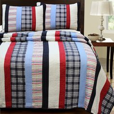 Ronnie Varsity Striped 3-piece Quilt | Overstock.com Shopping - The Best Deals on Kids' Bedding