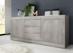 Dressoir Basic Grey bestaande uit drie laden en twee deuren uitgevoerd in de kleur Grijs eiken