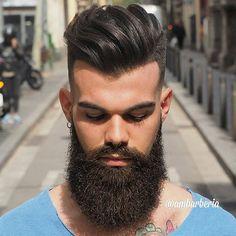 Hairstyle and BeardTrend hairstyle of my friend from Italy. •Model: @matteo.minelli92 ➖➖➖➖➖➖➖➖➖➖➖➖➖➖➖➖➖ #Barber #menshairworld  #itboy #guyswithcoolhair  #ootd  #hair #hairstyle #haircut #boystyle #fashionable #men #modernsalon #fashionblogger #internationalbarbers  #hairmenstyle #fashionista #menshair #cortesmasculinos #peinadoshombre #Malaga #RCDE #barcelonagram #Barceloneta #Malaga #beardgang #barberlife #zaramen #hairstylesformen #beard #fashiorismo @fashiorismo  @zaramen @mensfashions