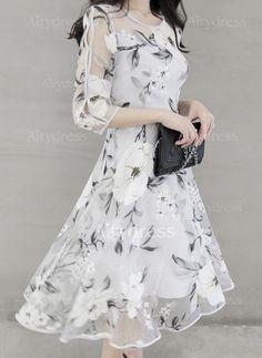 Polyester Orta boyda Zarif Yarım kollu Çiçek Elbiseler (1102890) @